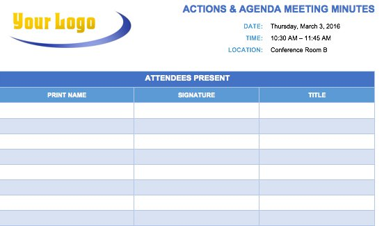 Free Meeting Minutes Template for Microsoft Word - meeting notes template