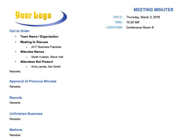 Free Meeting Minutes Template for Microsoft Word - committee sign up sheet template