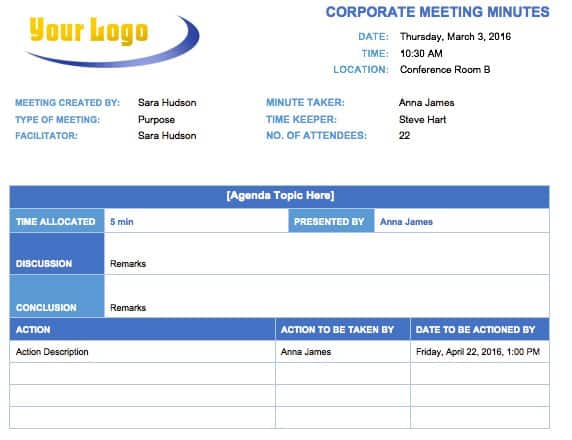 Free Meeting Minutes Template for Microsoft Word - meetings template