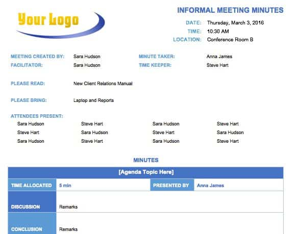 Free Meeting Minutes Template for Microsoft Word - microsoft word agenda templates