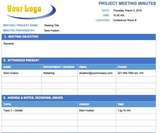 Free Meeting Minutes Template for Microsoft Word - business meeting minutes template word