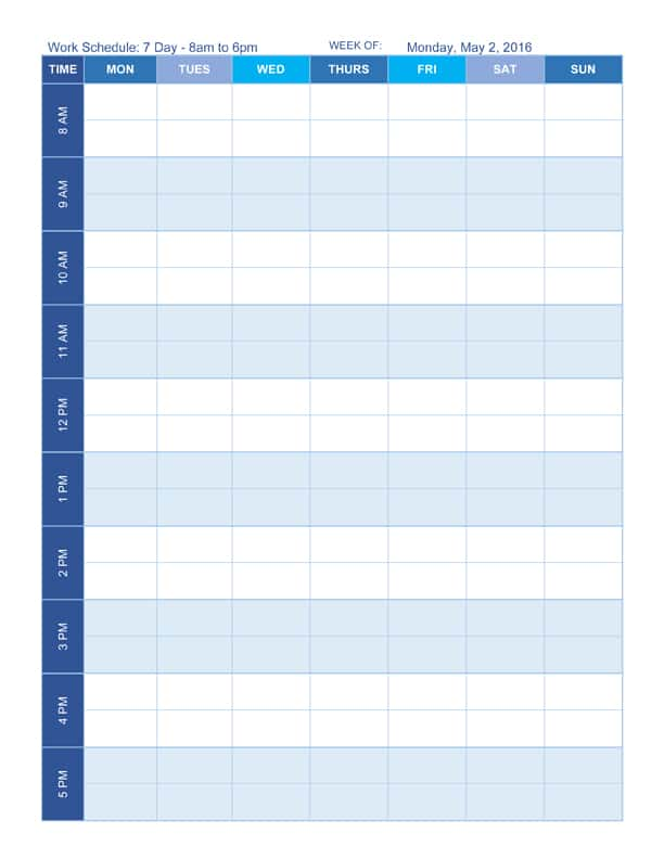 Free Work Schedule Templates for Word and Excel - daily time schedule template