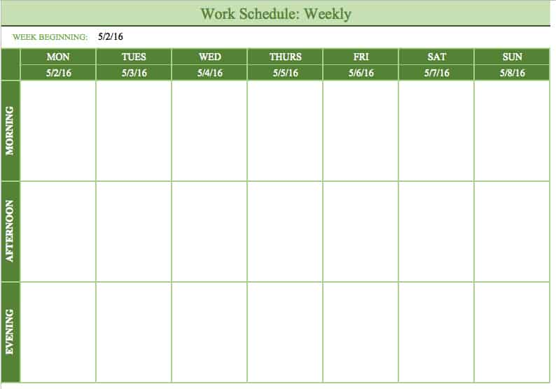 Free Work Schedule Templates for Word and Excel - Free Weekly Calendar