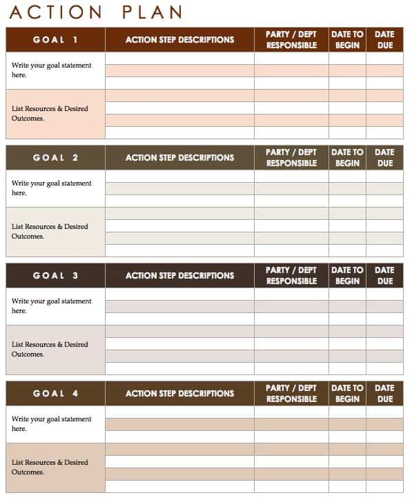 Free Action Plan Templates - Smartsheet - personal action plan template
