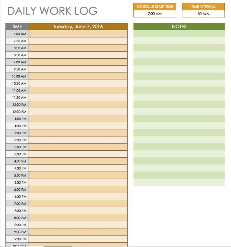 Free Daily Schedule Templates for Excel - Smartsheet - daily task planner template