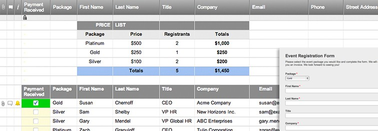 Event Registration Template with Form and Summary Smartsheet - registration template