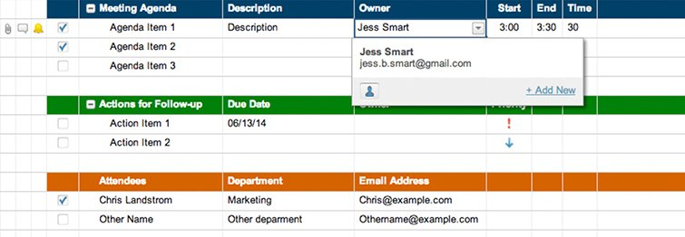Meeting Agenda, Attendance and Follow Up Template Smartsheet - meetings template