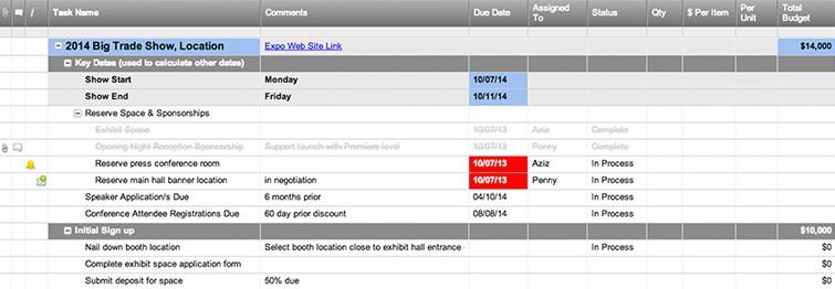 Tradeshow Planner Template with Budget Smartsheet - sample budget calendar