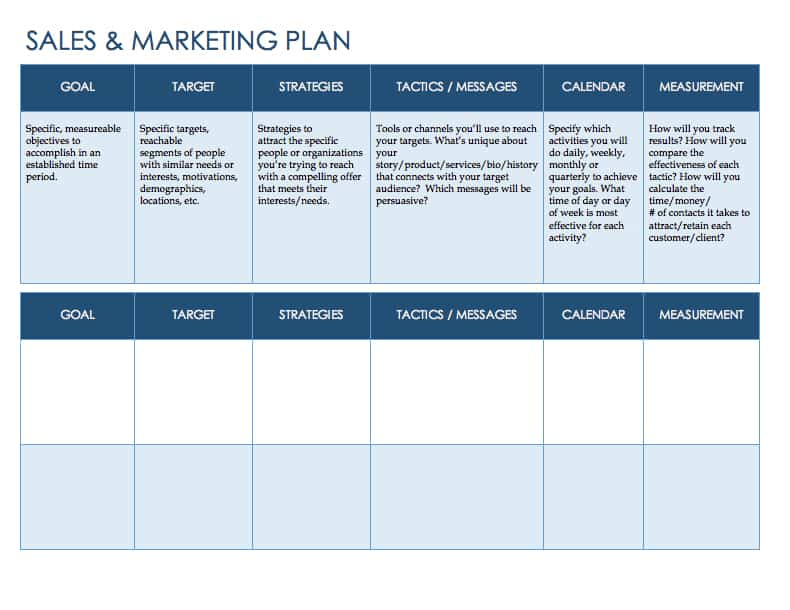 Free Sales Plan Templates - Smartsheet - sales plan templates