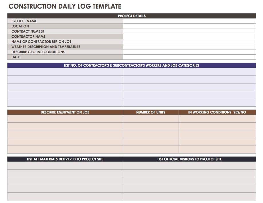 construction daily log template - Onwebioinnovate