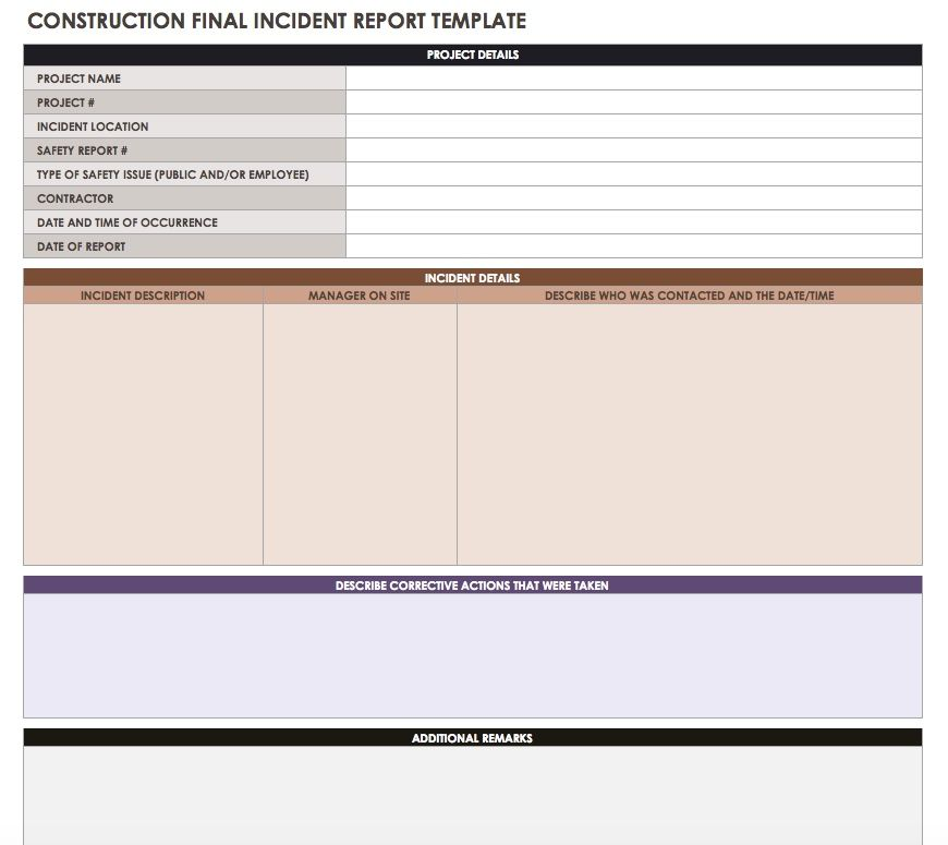 construction incident report - Minimfagency - incident reporting template