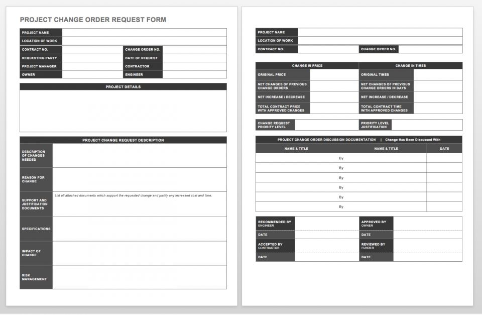 project change order template