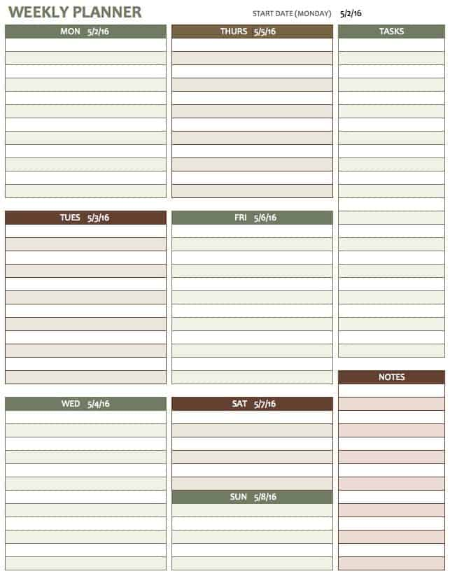 Free Weekly Schedule Templates For Excel - Smartsheet - sample planning calendar