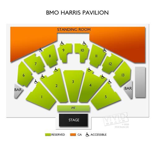BMO Harris Pavilion, Milwaukee, WI - Seating Chart  Stage