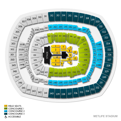 MetLife Stadium, East Rutherford, NJ - Seating Chart  Stage - New
