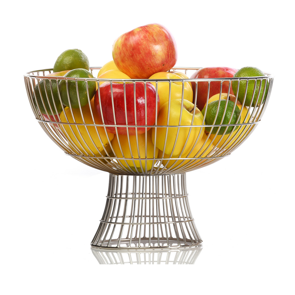 Modern Metal Fruit Bowl Comet Footed Bowl Large Silver 8339
