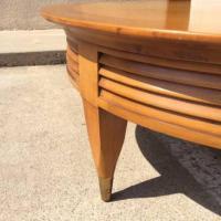 Round Light Wood Mid-Century Modern Coffee Table ...
