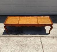 Long Vintage Coffee Table w/ Leather Top | Loveseat ...