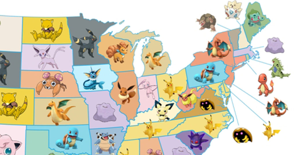 Map of Most Popular Pokémon Go Characters in Every State