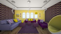 purple yellow living room - Living room - by sarasepideh