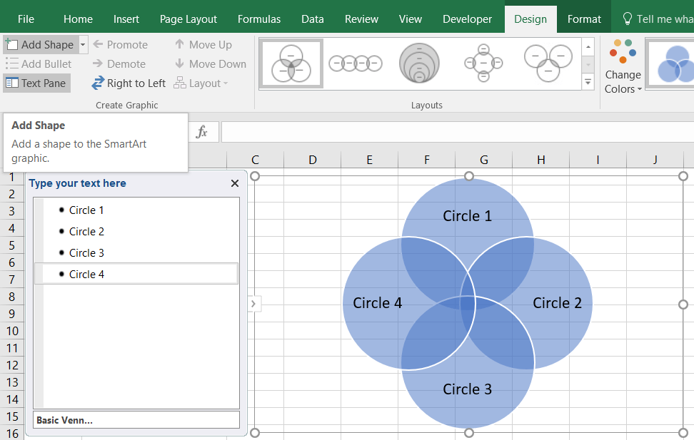 create venn diagram in excel with data