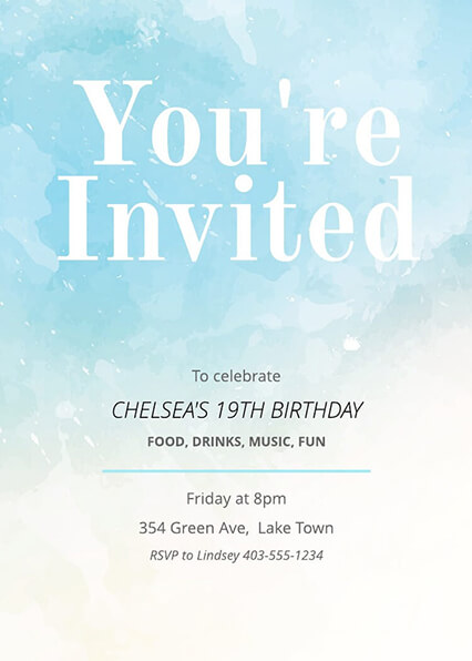 Painted Birthday Invitation Template Lucidpress