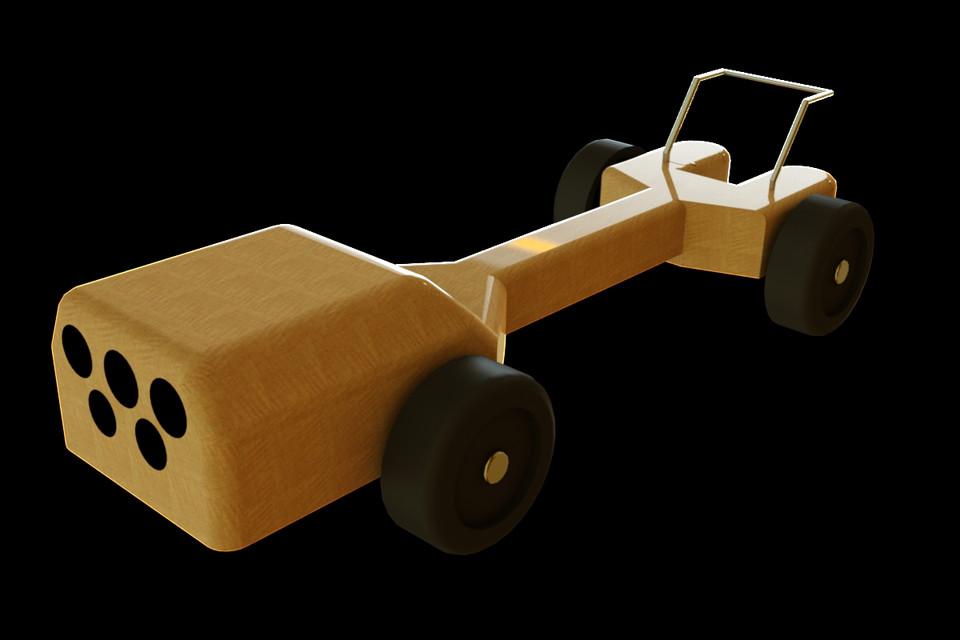 Winning Pinewood Derby Car Design 3D CAD Model Library GrabCAD