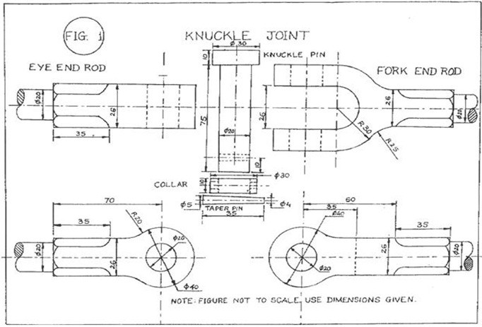 Knuckle joint Detail parts in 2D  DWG file 3D CAD Model Library