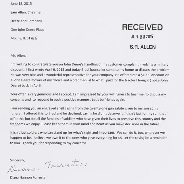 Emotional Customer Thank You Letter The John Deere Journal