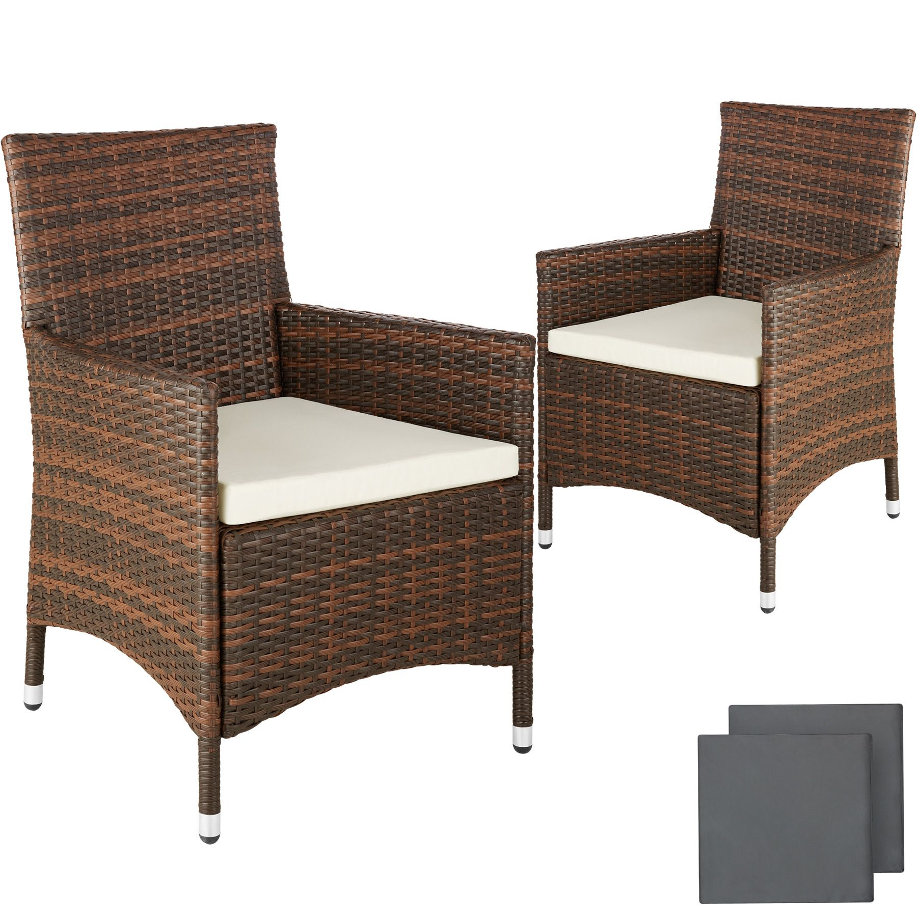 Polyrattan Bank Details About 2 X Poly Rattan Garden Chairs Alu Wicker Outdoor Armchair Set Cushions New