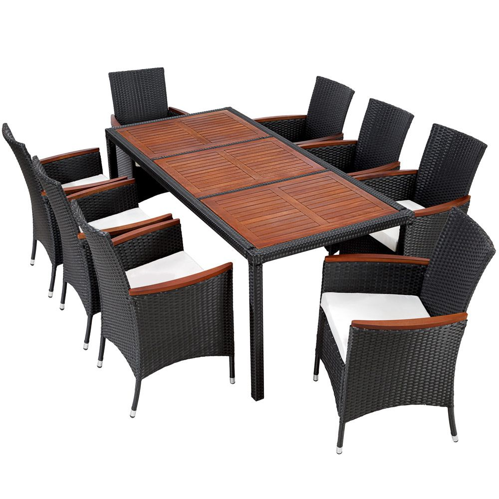 Rattanmöbel 24 Details About 8 Seater Table Rattan Garden Furniture Dining Chairs Set Wicker Black Brown