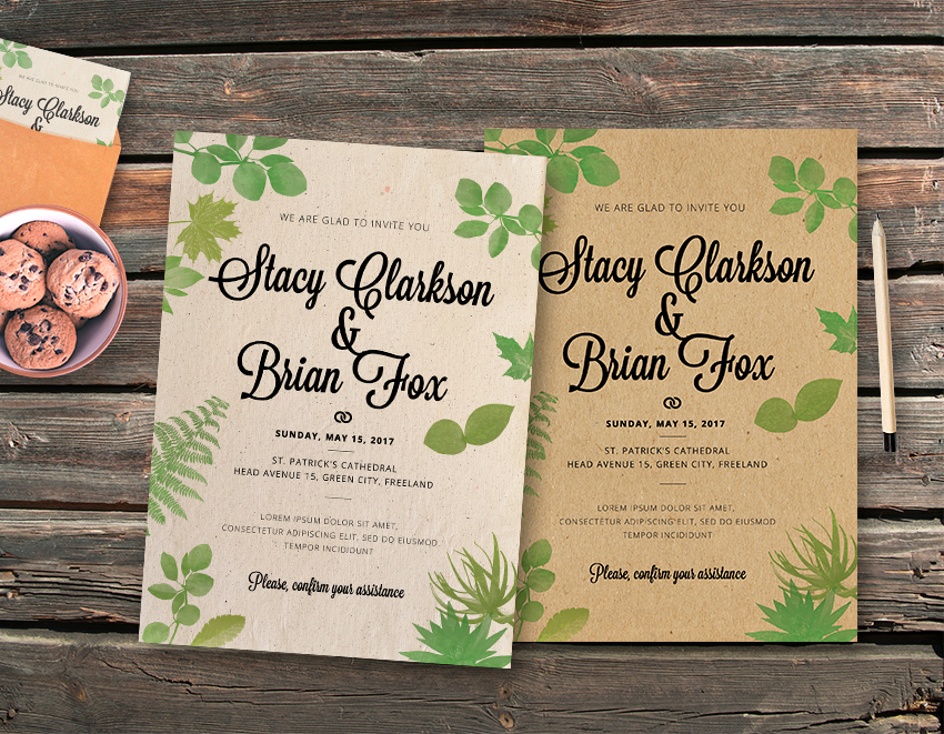 Wedding Leaves Vintage Invitation Template - Graphicfy