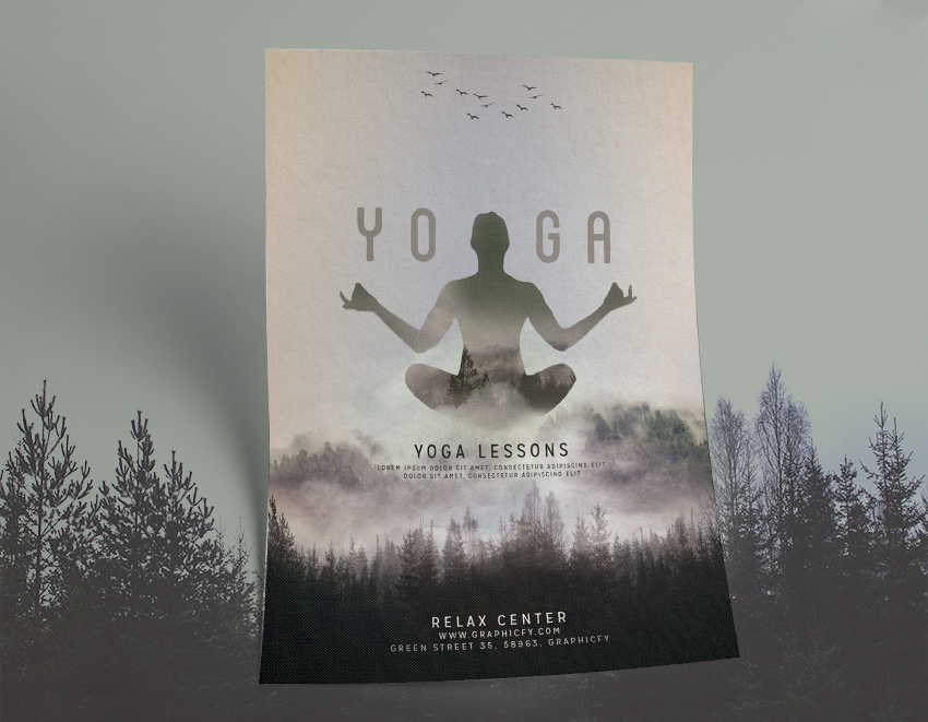 Minimalist Yoga Flyer Template - Awesome PSD Yoga Template - Graphicfy - yoga flyer