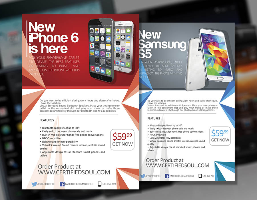 Smartphone Flyer Template PSD - Flyer Designs - Graphicfy - how to make online flyers
