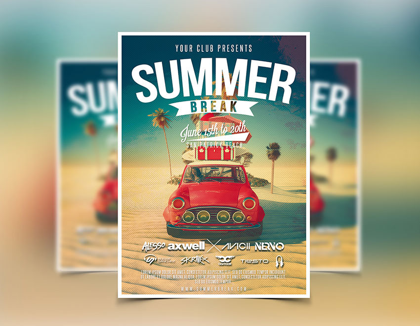 Summer Flyer Template - Party Flyers Designs - Graphicfy