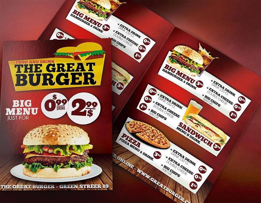 Burger Menu Template PSD - Fast Food Menu Templates - Graphicfy - food menu templates free