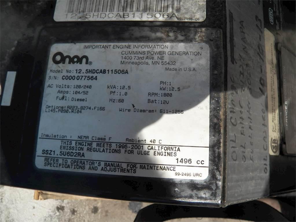Onan 125 KW Generator For Sale, 1,408 Hours Ogden, UT 915
