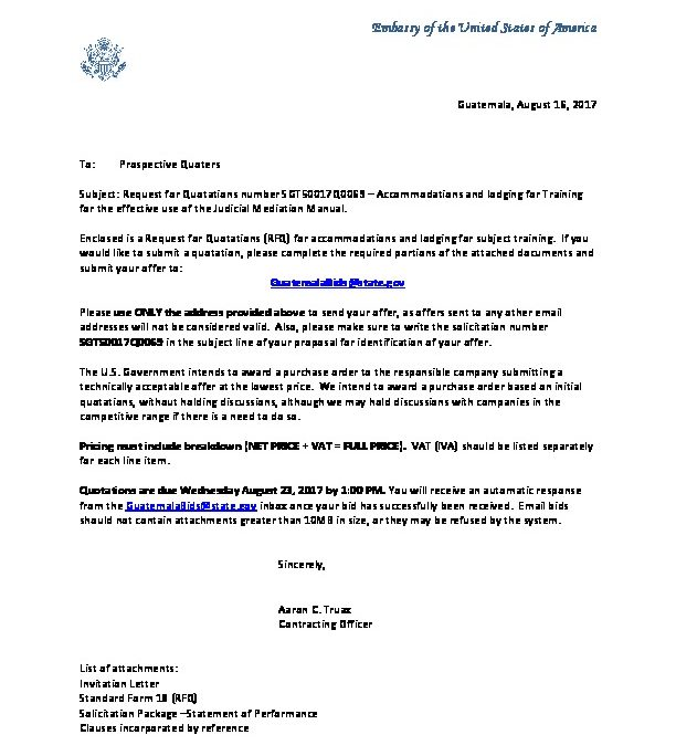 Invitation Letter SGT50017Q0069 US Embassy in Guatemala