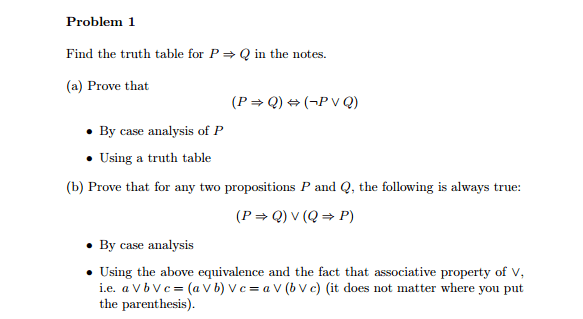 Solved Find The Truth For P Implies Q In The Notes Prove