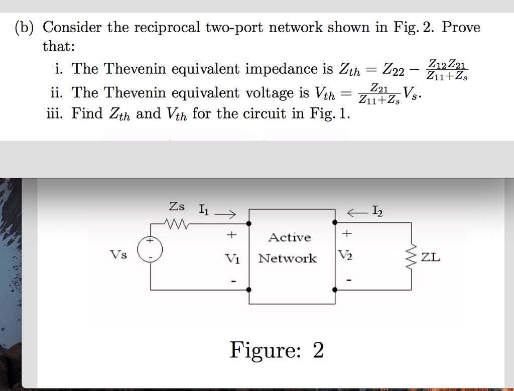Port Network Solved B Consider The Reciprocal Two Port Network Shown