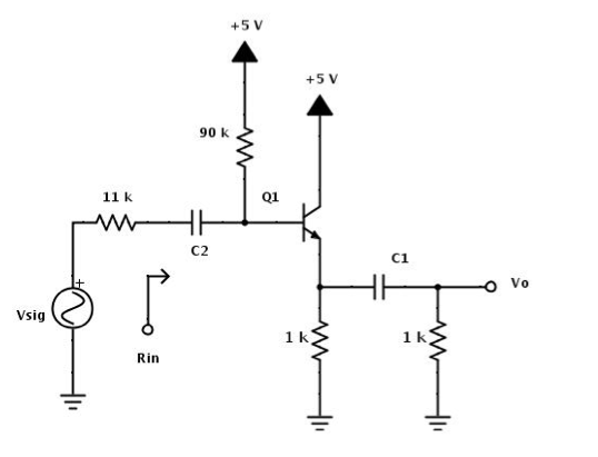 for the emitterfollower circuit shown below the cheggcom