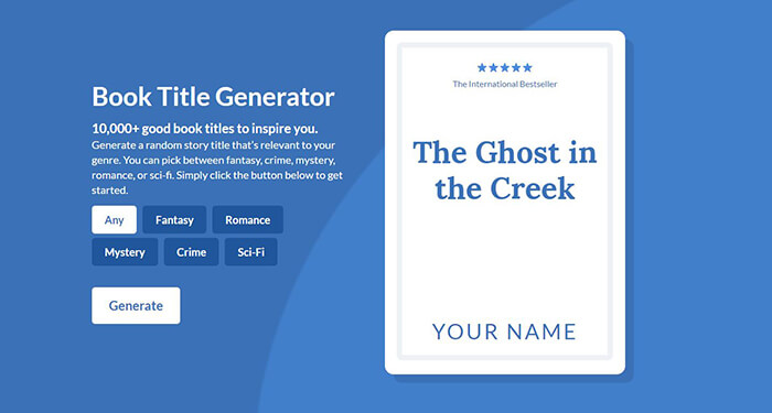 Book Title Generator \u2022 The Ultimate Bank of 10,000 Titles - title picture