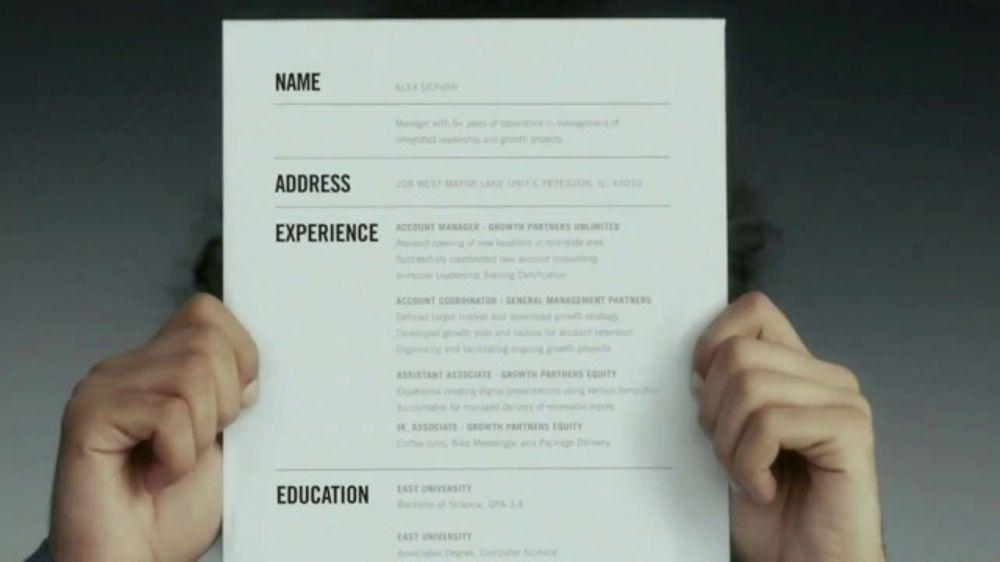 Indeed TV Commercial, \u0027Résumé\u0027 - iSpottv - resume indeed