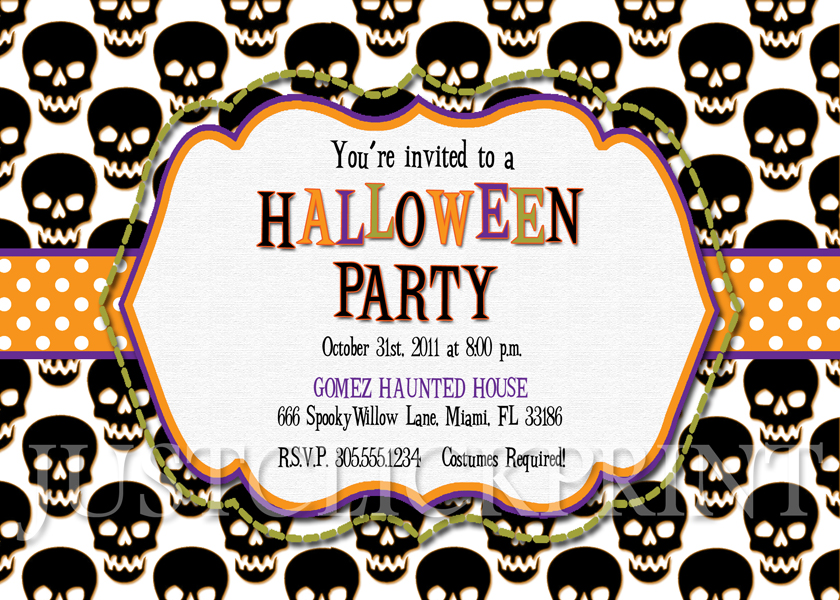 Black Skulls Halloween Party Invitation Printable · Just Click - halloween invitation template