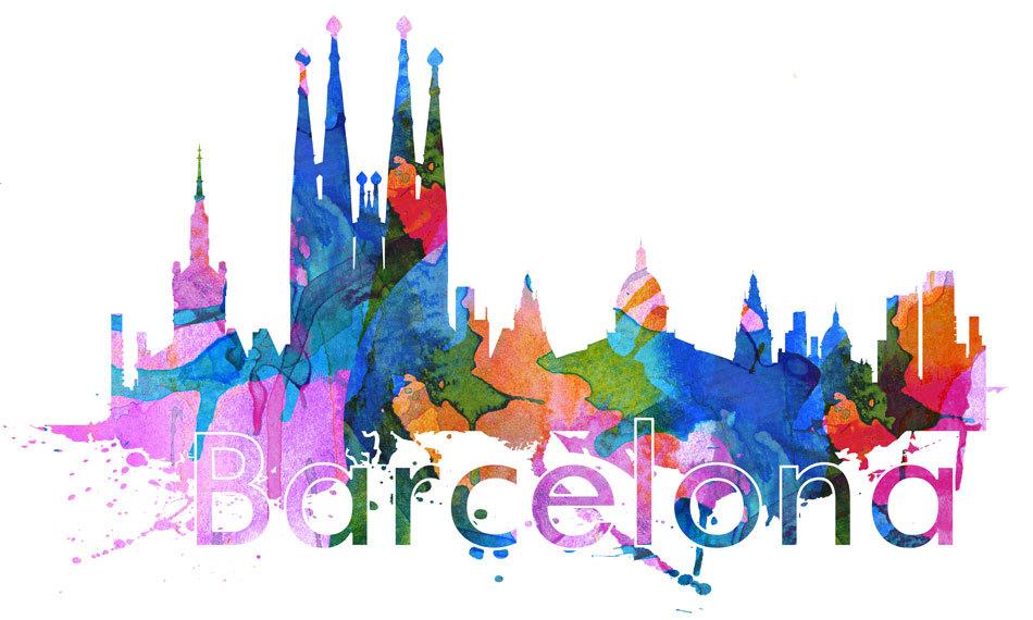 Barcelona City Skyline Watercolor Wall Art Print