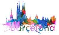 Barcelona City Skyline Watercolor Wall Art Print ...