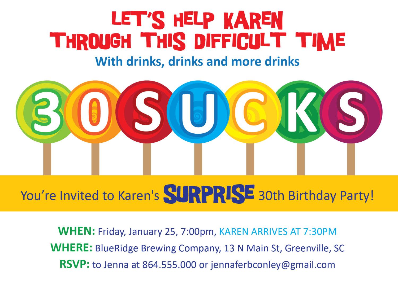 30 Sucks Birthday Party Invitations Suckers Lollipops