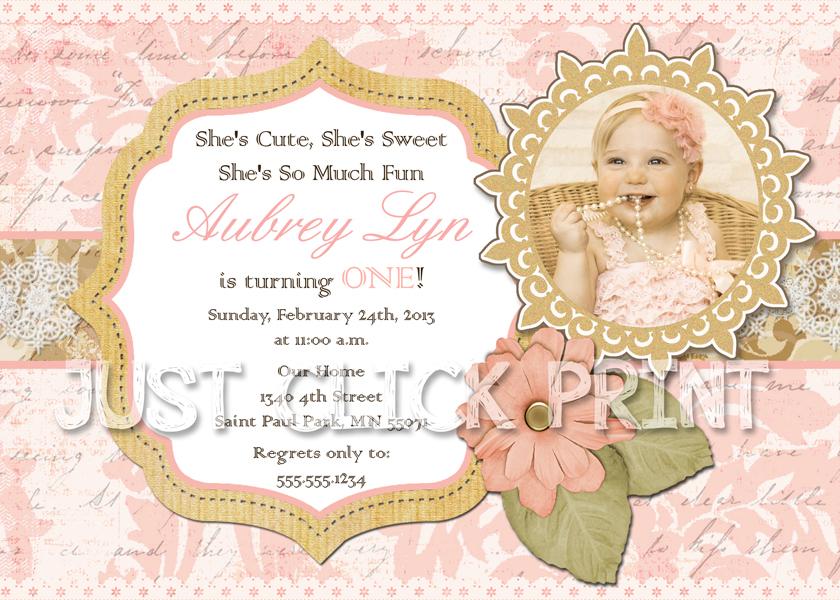 Vintage Shabby Chic Birthday Photo Invitation Printable · Just Click