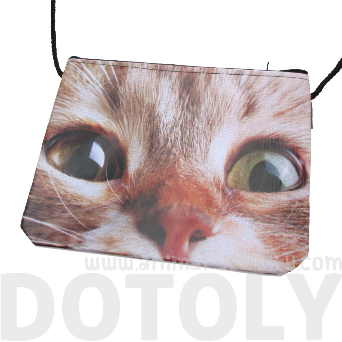 Wide Eyed Kitty Cat Face Print Rectangular Shaped Cross
