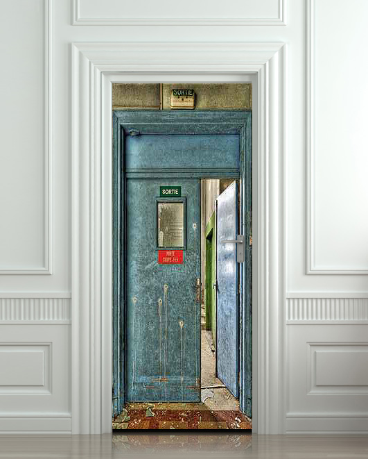 Wall Door STICKER sortie entrance WC entrance social